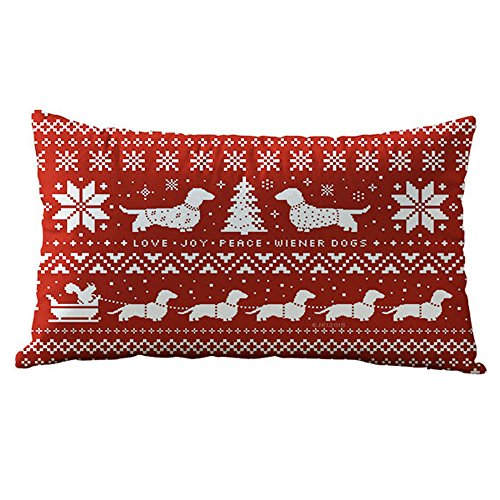 Mysky Christmas Rectangle Cotton Linter Pillow Cases Cushion Covers -