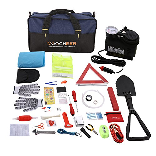 COOCHEER Auto Emergency Kit,Multifunctional Roadside Assistance 99-In-1 Car Safety Kit with Jumper Cables,Folding Military Shovel,Air Compressor,Tow Rope,Triangle,Flashlight,Tire Pressure Gauges,Safet