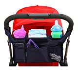 Stroller Organizer By Lebogner, Premium Deep Insulated Stroller Cup Holder To Keep Warm Or Cold Bottles, Stroller Accessories, Universal Black Baby Diaper Stroller Bag, Fits Most Strollers
