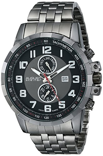 August Steiner Men's AS8153BK Black Multifunction Swiss Quartz Watch with Gray and Black Dial and Gray Bracelet