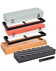 GUYUE Knife Sharpening Stone Set, 2 in 1 Grit 400/1000 3000/8000 Professional Whetstone Sharpener Set,Professional Best Kitchen Blade Sharpener Stone, include Nonslip Bamboo Base & Flattening Stone.