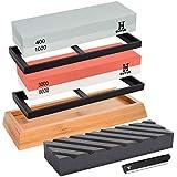 GUYUE Knife Sharpening Stone Set, 2 in 1 Grit 400/1000 3000/8000 Professional Whetstone Sharpener Set,Professional Best Kitch