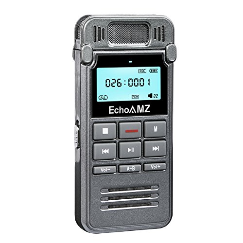 Digital Voice Recorder by EchoAMZ, 8GB Sound Audio Recorder Dictaphone for Meetings Lectures, USB, Voice Activated, Double Microphone, Metal Casing