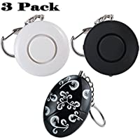 3-PACK Personal Alarm,120dB SOS Emergency Self Defense Keychain Safety Alarm for Elderly Kids Women - 1 Printed + 1 White +1 Black