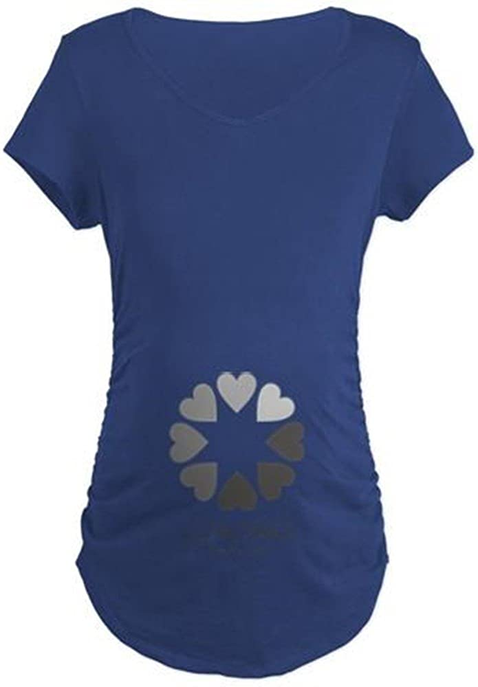 Side Ruched Scoop Neck Cotton Maternity T-Shirt New Baby Loading Hearts Maternity T-Shirt CafePress