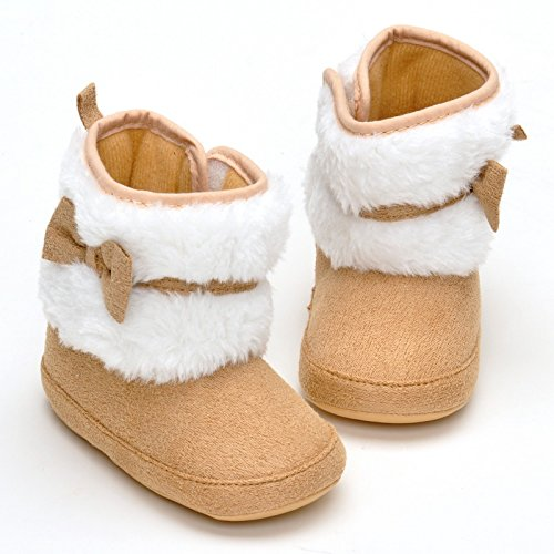 Image of Estamico Baby Girl Plush Winter Snow Bowknot Boots