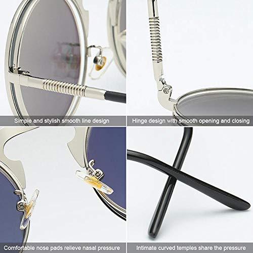 Casual Retro Occhiali Rotondi Vintage Aolvo E Uv Piatta Donna ApreNero Da Uomo Sole Lente Fashion Eyewear Protezione Blu UzMLSpqVG