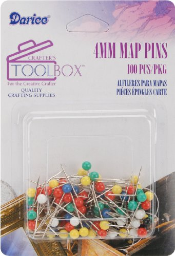Darice 4mm Map Pins with Colored Heads, Assorted (Colored Head Pins)