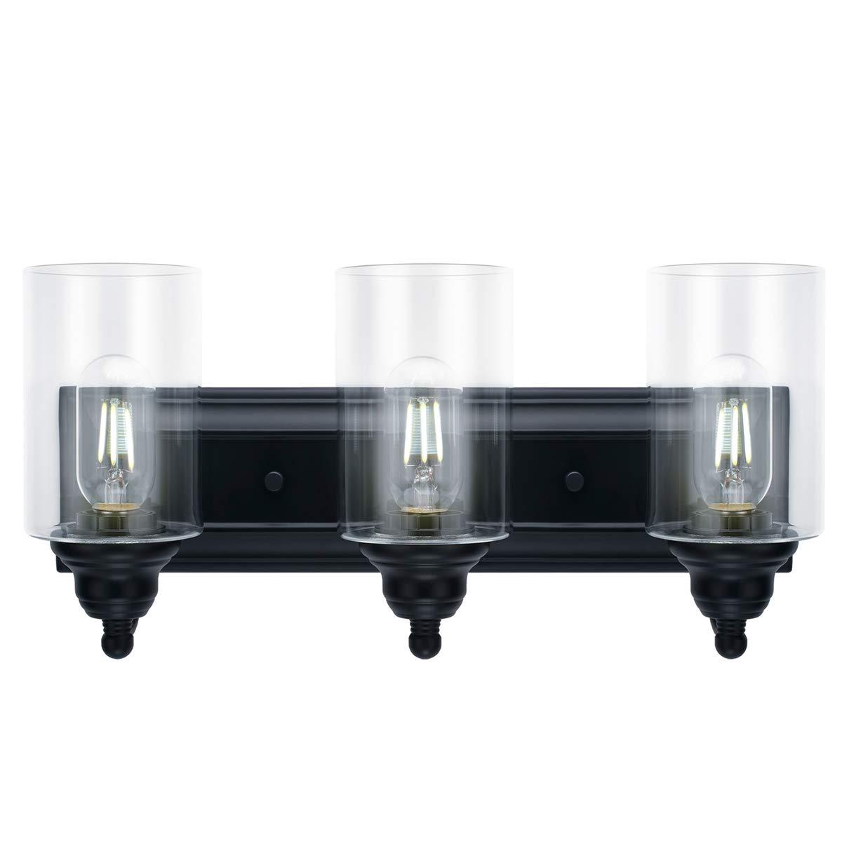 3-Light Vanity Light Fixture Modern Clear Glass Shades Lighting Black Dining Room Lighting Fixtures 3-Light