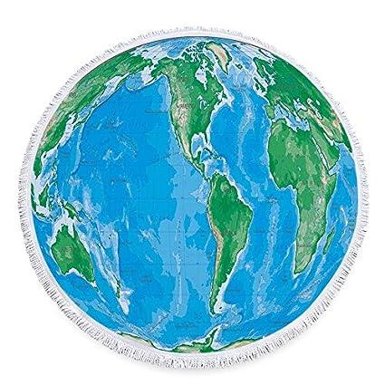 Amazon.com: WLEZY Beach Towel World Map Printed Round Beach ...