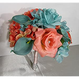 Coral Turquoise Rhinestone Rose Calla Lily Bridal Wedding Bouquet & Boutonniere 7