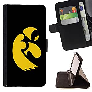 DEVIL CASE - FOR HTC One M8 - cool black yellow eagle - Style PU Leather Case Wallet Flip Stand Flap Closure Cover