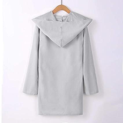 BaZhaHei-Chaqueta de Mujer, Sección Delgada del Blusa de Bolsillo Encapuchado de Las Mujeres Pelo de una Sola Camisas de Mujer Cara Abrigo de la Capa de la ...