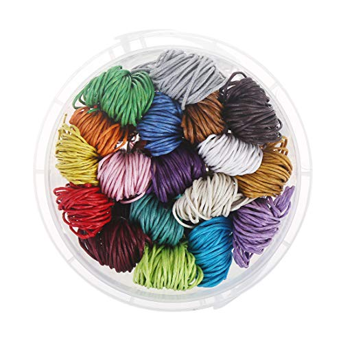 196yards Waxed Cotton Cord 32.8ft/Color Bracelet Thread 1mm Diameter for Jewelry Making Leather Craft DIY(18 Colors) by CCINEE ()