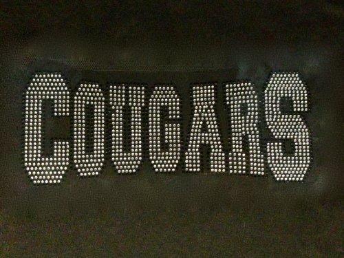 Cougars Mascot Rhinestone Transfer Iron on