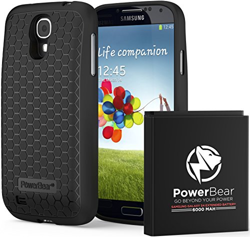PowerBear Samsung Galaxy S4 6000mAh Extended Battery & Back Cover & Protective Case (Up to 2.3X Extra Battery Power) - Black [24 Month Warranty & Screen Protector Included]