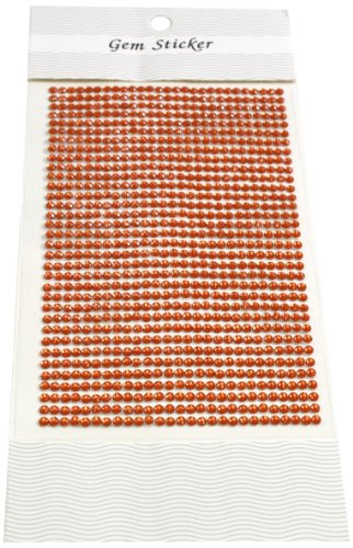 Orange Rhinestone (Kel-Toy Round Rhinestone Stickers, 3mm, 837 Pieces Per Sheet, Orange)