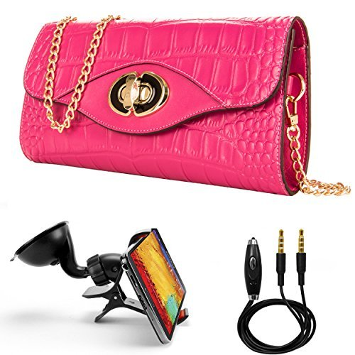 Wallet Case for Huawei P10 / P10 Plus / P10 Lite/Honor 8 Pro/Enjoy 6s, Cassie Crocodile Genuine Leather Shoulder Clutch w Gold Chain & Turn Lock (Magenta) + Auxiliary Cable + Windshield Car Mount