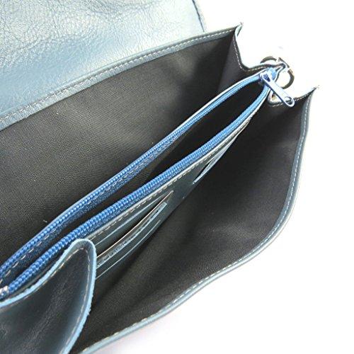 Frandi [M6595] - Sac pochette cuir 'Frandi' bleu canard (2 soufflets)