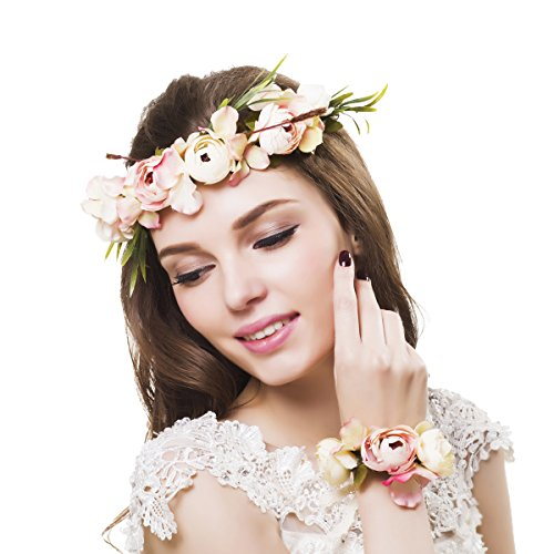 Ever Fairy Women Flower Wreath Crown Floral Wedding Garland Headband Wrist Band Set (Pink)