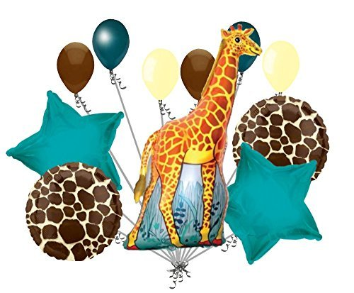 11 pc Giraffe Balloon Bouquet Decoration Happy Birthday Jungle Zoo Party Safari