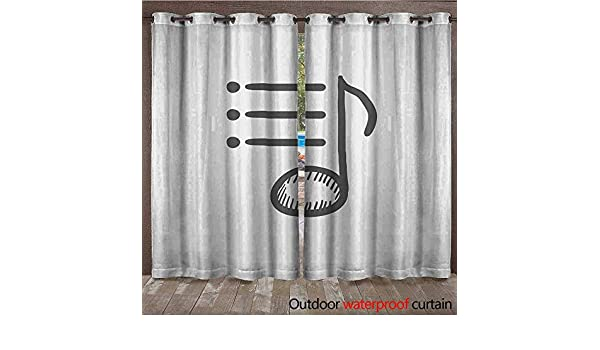 BlountDecor Home Patio Cortina Exterior Musical Note Line Icon ...