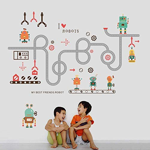 MIDIE Removable Transports and Roads Kids Wall Decals - Wall Stickers DIY Curved Road Robot Wall Decal Peel and Stick Art Decor for Kids Bedroom Babies Nursery Room Living Rooms Wall Decoration ()