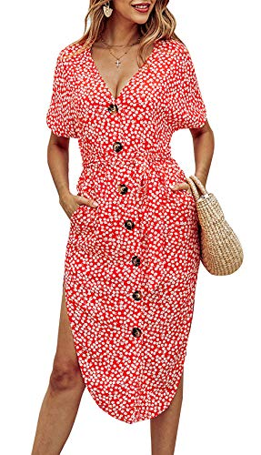 BTFBM Women V Neck Short Sleeve Button Stylish Floral Print Two Side Split Casual Belt Dress with Pockets (Red, Large) ()