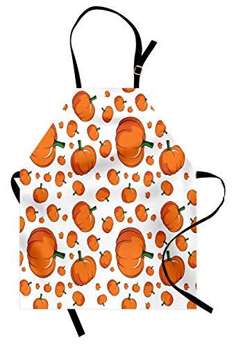 Ambesonne Harvest Apron, Halloween Inspired Pattern Vivid Cartoon Style Plump Pumpkins Vegetable, Unisex Kitchen Bib Apron with Adjustable Neck for Cooking Baking Gardening, Orange Green White ()