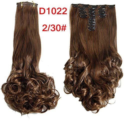Synthetic 18 Clips in Hair Extension 8pcs/set 22inch Long Wavy Blonde Hairpiece,1B/30HL,22inches