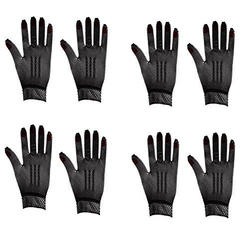 [4 Pairs Stretchable Fishnet Wrist Gloves (Black)] (Fishnet Gloves)