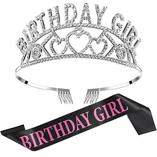 Chengu Birthday Girl Glitter Crown Rhinestone Crystal Decor Headband with Birthday Girl Sash (Black Pink)]()