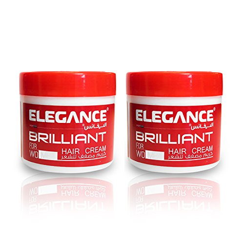 Elegance Brilliant Hair Styling Cream Non Sticky Formula For Natural Look That Preserves Capillary Fibers and Nourishes Leaving Hair Healthy and Silky (2 Pack) by Elegance USA