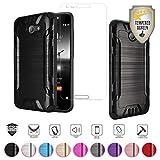Alcatel Zip LTE Case, Alcatel A577VL A576BL Case, Alcatel Kora Case, with Tempered Glass Screen Protector, Metallic Brushed Design Dual Layer Hybrid [Shockproof] TPU Hard Cover (Black)