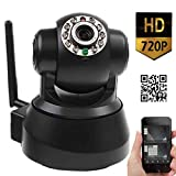 JYtrend (TM) Powered By/ EasyN Wireless IP Camera 720P (1MP HD) Pan Tilt PLUG&PLAY P2P Smartphone Audio WiFi Motion