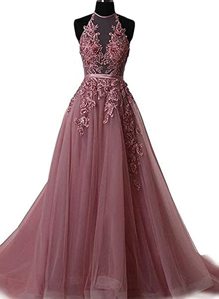 Women\'s Lace Appliques Halter Plus Size Long Prom Dresses at ...