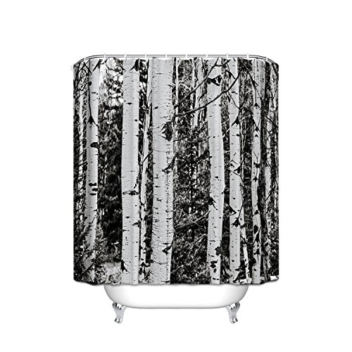 T&H Home White&Grey Brich Tree Landscape Shower Curtain Waterproof 100% Polyester Winter Views 72X80In (Brich Tree)
