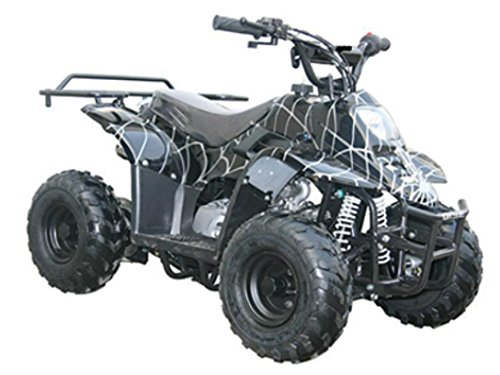 MOTOR HQ 110cc ATV Fully Automatic Four Wheelers 4 Stroke Engine 6'' Tires Quads for Kids Black Spider