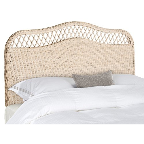 Safavieh Home Collection Sephina White Washed Rattan Headboard (King) (King Wicker White Headboard)