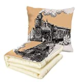 iPrint Quilt Dual-Use Pillow Steam Engine Vintage Wooden Train Rail Wild West Wagon in Countryside Drawing Effect Artsy Multifunctional Air-Conditioning Quilt Peach White