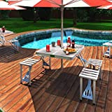 Home Buy New Heavy Duty Aluminium Portable Folding Picnic Table & Chairs Set with Umbrella