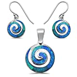 "Sterling Silver Lab Created Opal Swirl Earring & Pendant set 1"" Colors Available"