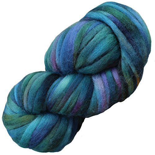 Blue Dyed Knitting Yarn - Living Dreams SUPER ZIPPY Hand Dyed Extra Bulky Wool Roving Yarn for Knitting Crochet Weaving & Boho Wall Art. Made in USA. Aurora