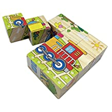 Rolimate Train Wooden Cube Block Jigsaw Puzzles , Best Toys for 1 2 3 Year Old Toddlers Kids(boys or Girls)