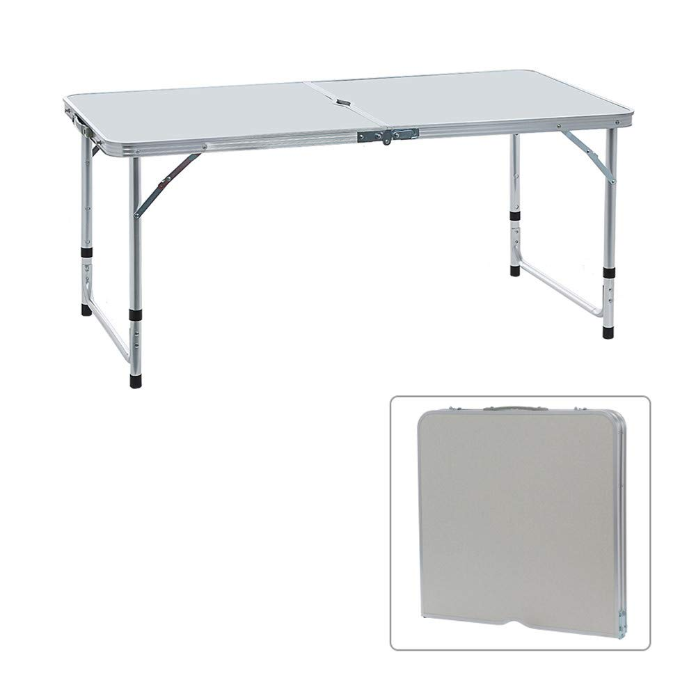 WONdere Portable Camping Table 4-Person Folding Aluminum Picnic Party Dining Desk in/Out (B)