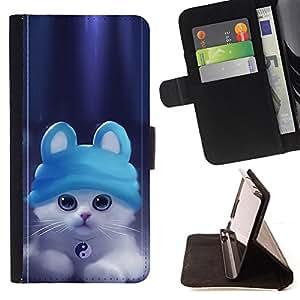 BullDog Case - FOR/HTC One M9 / - / Cute Ying Yang Cat Kitten /- Monedero de cuero de la PU Llevar cubierta de la caja con el ID Credit Card Slots Flip funda de cuer