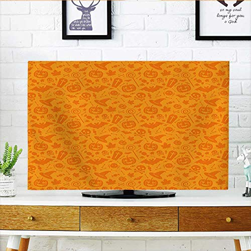 Auraisehome tv dust Cover Monochrome Design with Traditional Halloween Themed Various Objects Celebration Day Orange Dust Resistant Television Protector W30 x H50 INCH/TV 52