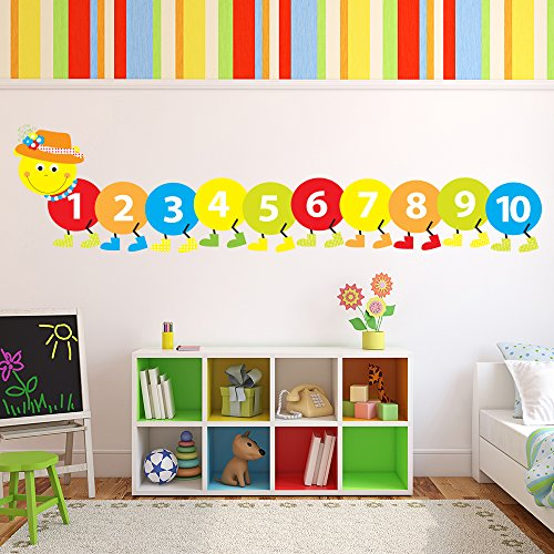 azutura Counting Caterpillar Wall Sticker Childrens Wall Decal Baby Nursery Home Decor available in 8 Sizes X-Small -