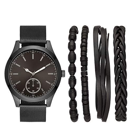 Folio Men's Three-Hand Gunmetal Watch Gift Set FMDAL881