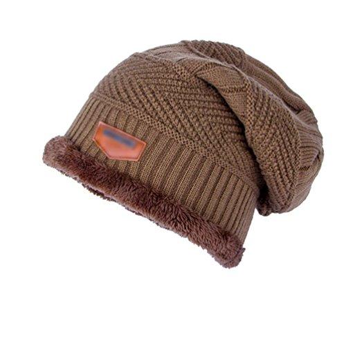 Chic más Punto Sombreros Vellosidades Diseño Hombre Caqui Gorro Espesado Cálido YiJee de Invierno Moda awEZnq